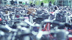 Huge parking for bicycles in Copenhagen Stock Footage