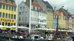 Shopping street with colorful buildings  in Copenhagen Stock Footage
