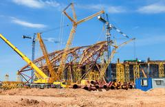 Construction of a modern stadium for football matches Cosmos Arena Stock Photos
