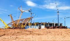 Construction of a modern stadium for football matches Cosmos Arena - stock photo