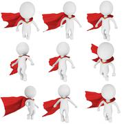 Man brave superhero with red cloak fly Stock Illustration