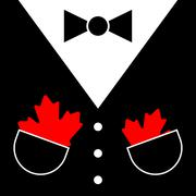 Suit with bow tie and maple leafs Stock Illustration