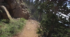 Hiking a Trail at the edge of a cliff - Point of View shot, Panoramic View Stock Footage