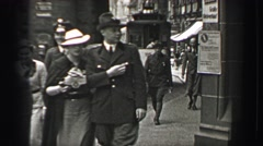 1937: Nazi SS Schutzstaffel officer keeping tabs on public streets. BERLIN, Stock Footage