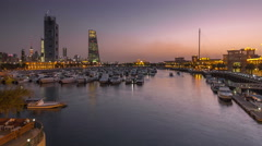 Yachts and boats at the Sharq Marina day to night timelapse hyperlapse in Kuwait Stock Footage