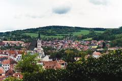 Panorama of Krumlov castle from the upper observation platform - stock photo