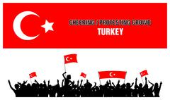 Cheering or Protesting Crowd Turkey - stock illustration