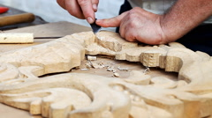 Carving, close-up, tool Stock Footage