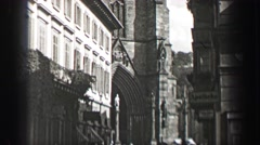1937: German cathedral church flying buttresses medieval construction before Stock Footage