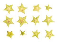 Averrhoa carambola starfruit cross-section isolated Stock Photos