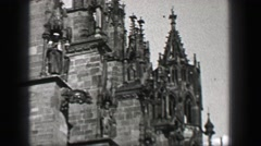 1937: German stone cathedral church flying buttresses medieval construction Stock Footage
