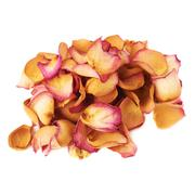 Pile of pink rose petals as a romantic composition over white background Stock Photos