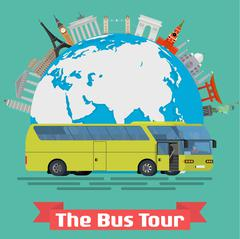 The Bus Tour of Europe and popular familiar landmarks. Stock Illustration