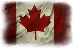 Canadian flag grunge painted effect on  white background - stock illustration