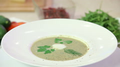 Mushroom cream soup in f bowl Stock Footage
