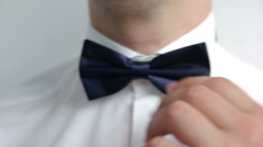 Man the groom in a wedding formal costume with butterfly. Stock Footage