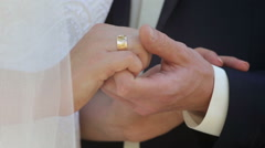 Bride and groom holding hands Stock Footage