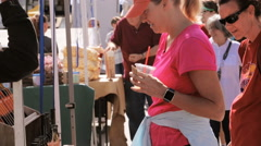 Weekend shopping on the Farmers Market in the Summer. Stock Footage