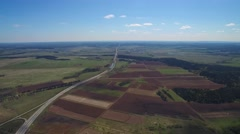 field, forest and blue sky. all-round visibility from the air - stock footage