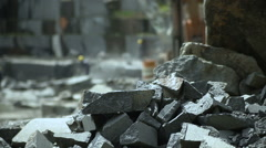 Granite mining in stone quarry - stock footage
