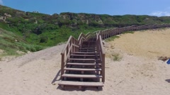 Climb Up via Wooden Stairs with Railing Stock Footage