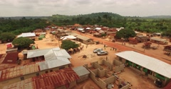 Africa Aerial Ghana small village 4K Stock Footage