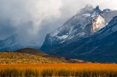 The Torres del Paine National Park in the south of Chile is one of the most b Stock Photos