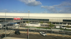 Brisbane Airport as view from the Airtrain in Queensland Australia Stock Footage