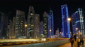 Dubai Marina night zoom in time lapse, United Arab Emirates HD Footage