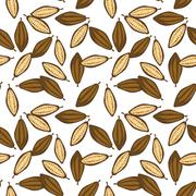 Cocoa beans seamless pattern. Chocolate background - stock illustration