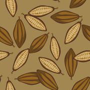 Cocoa beans seamless pattern. Chocolate background Stock Illustration