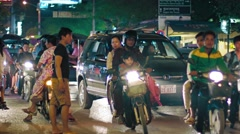 Typical urban traffic in the evening in Siem Reap, with sound. Stock Footage