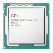 Central processor unit CPU top view isolated on whitebackground. 3d illustration Stock Illustration
