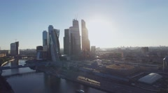 Quadrocopter shoot skyscrapers of Moscow city in summer sunny evening. Modern Stock Footage