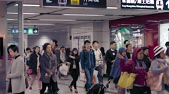 People at Hong Kong metro station. A typical working day. Video 4k UltraHD Stock Footage