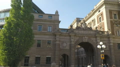 Pan across Swedish parliament Riskdag building. Seat of government. Stock Footage