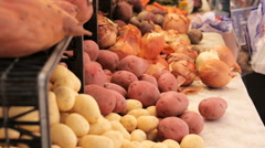 Fresh vegetables on the counter farmers market for sale Stock Footage