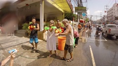 Celebrating Songkran Thai New Year in the Streats of Patong, Thailand Stock Footage