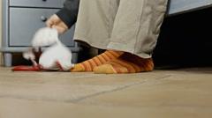 Feet morning floor pov pick bra - stock footage
