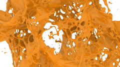 Orange color splashes in slow motion into screen, alpha included (FULL HD) Stock Footage