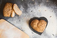 Love and passion for wholemeal bread Stock Photos