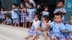 Preschoolers bye bye in bangkok Province, Thailand. Stock Footage