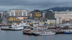 Time Lapse Zoom of the Scenic Port of Oslo Day to Night -  Norway Europe Stock Footage