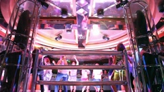 Disco music dancing party at the nightclub  - stock footage