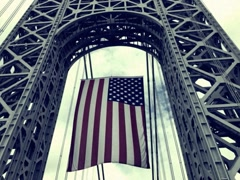 8mm Stylized Crossing George Washington Bridge With Flag Stock Video Stock Footage