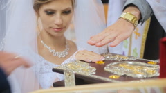 Bride taking wedding vows in church - stock footage