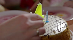 Birthday cake and candles birthday party - stock footage