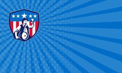 Business card American Patriot Beer Keg Flag Crest Retro - stock illustration