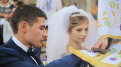Bride taking wedding vows in church Stock Footage