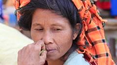 Portrait  old woman in market, Inle Lake, Burma. Myanmar Stock Footage